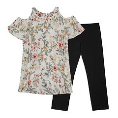 Girls 7-16 IZ Amy Byer Cold Shoulder Floral Print Tunic Top & Legging Set