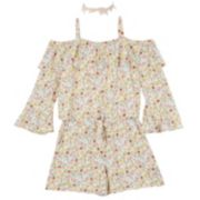 Girls 7-16 IZ Amy Byer Ruffled Floral Print Romper with Necklace