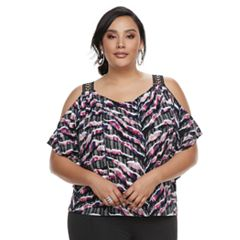 Plus Size Jennifer Lopez Grommet Cold-Shoulder Top