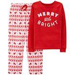 "Girls 4-14 Carter's ""Merry and Bright"" Christmas Top & Bottoms Pajama Set"