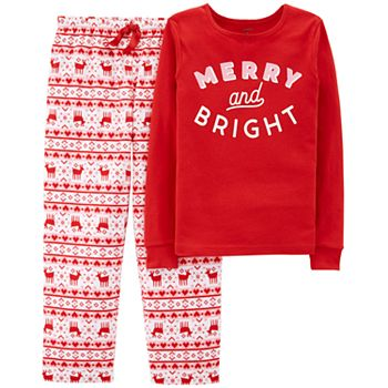 girls 4 14 carters merry and bright christmas top bottoms pajama set