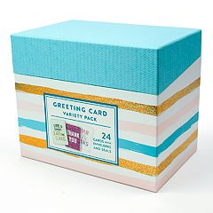 OCS Pastel & Stripes Greeting Card Variety Pack 72-piece Set