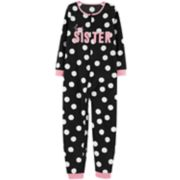 "Girls 4-14 Carter's ""Best Sister"" Polka-Dot One-Piece Footless Pajamas"