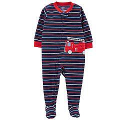 Toddler Boy Carter's Striped Firetruck Microfleece Footed Pajamas