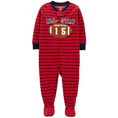 Toddler Boy Carter's 'All Star' Football Striped Microfleece Footed Pajamas