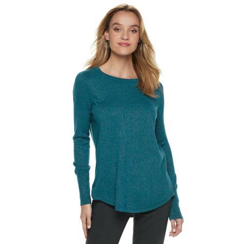 Women's Apt. 9® Metallic Crewneck Sweater