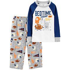 Toddler Boy Carter's 'Bedtime Champ' Football Top & Fleece Bottoms Pajama Set
