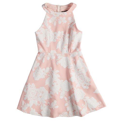 Girls 7-16 Three Pink Hearts Puffy Floral Scuba Dress