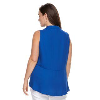 Plus Size Dana Buchman Pleat Back Sleevless Top