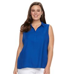 Plus Size Dana Buchman Pleat Back Sleevless Top