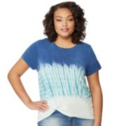 Juniors' Plus Size Wallflower Tie-Dye Twist-Front Tee