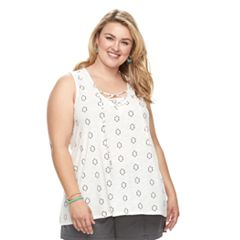 Plus Size SONOMA Goods for Life™ Floral Lace-Up Tank
