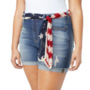 Juniors' Plus Size Wallflower American Flag Belted High-Waisted Jean Shortie Shorts