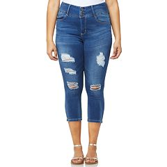 Juniors' Plus Size Wallflower Insta Soft Ripped Midrise Capri Jeans