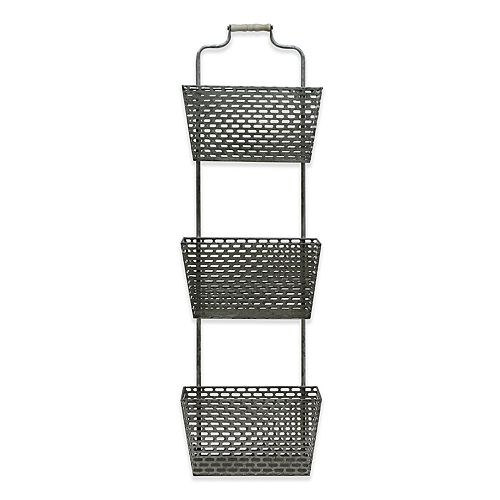 Belle Maison 3-Tier Galvanized Basket Wall Decor