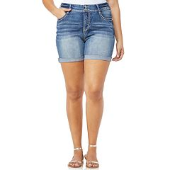Juniors' Plus Size Wallflower Mid-Rise Bling Luscious Curvy Jean Shortie Shorts