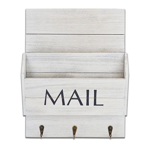"""Belle Maison Weathered """"Mail"""" Basket Wall Decor"""