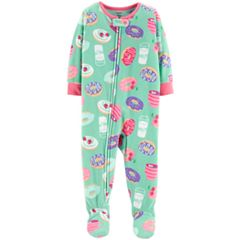 Toddler Girl Carter's Donuts & Milk Microfleece Footed Pajamas