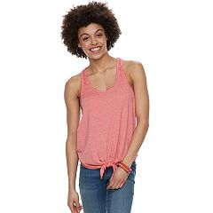 Juniors' SO® Tie Front Racerback Tank