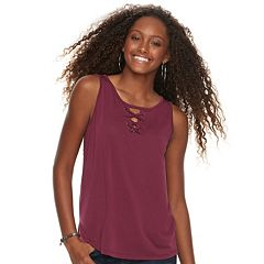 Juniors' Pink Republic Solid Cupro Lace-Up Tank