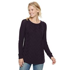 Women's SONOMA Goods for Life™ Lattice Cable-Knit Crewneck Sweater