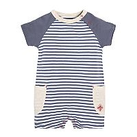 Baby Boy Burt's Bees Baby Striped Pocket Romper