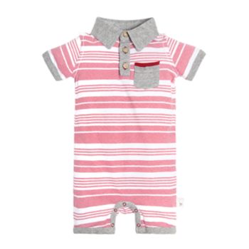 Baby Boy Burt's Bees Baby Striped Polo Romper