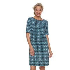 Petite Croft & Barrow® Ribbed Elbow Sleeve Dress