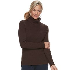 Petite Croft & Barrow® Ribbed Turtleneck Sweater