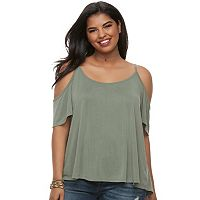Juniors' Plus Size Mudd® Cupro Cold-Shoulder Tee