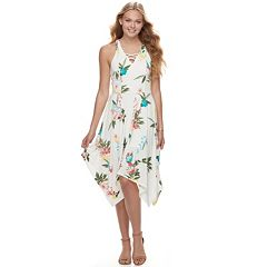 Juniors' Candie's® Floral Handkerchief Hem Dress