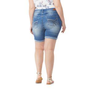 Juniors' Plus Size Wallflower Mid-Rise Bling Luscious Curvy Midi Denim Shorts