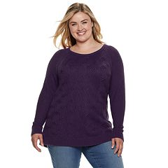Plus Size SONOMA Goods for Life™ Twist Cable-Knit Sweater