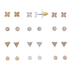 LC Lauren Conrad Tri Tone Simulated Crystal Stud Earring Set
