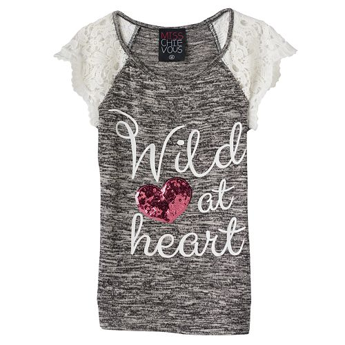 """Girls 7-16 Miss Chievous """"Wild at Heart"""" Sequin Heart Crochet Lace Sleeve Knit Top"""