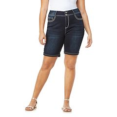 Juniors' Plus Size Wallflower Mid-Rise Bling Luscious Curvy Denim Bermuda Shorts