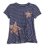 Girls 7-16 Miss Chievous Sequined Stars & Stripes Twist Front Tee