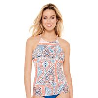 Juniors' Hot Water Printed High-Neck Tankini Top