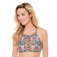 Juniors' Hot Water High-Neck Bikini Top