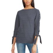 Petite Chaps Striped Tie-Sleeve Dolman Top