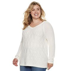 Plus Size SONOMA Goods for Life™ Trellis Cable-Knit Sweater