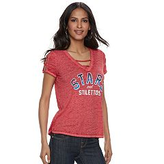 Women's Rock & Republic® 'Stars and Stilettos' Strappy Cold-Shoulder Tee