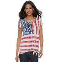 Women's Rock & Republic® Tie-Front Flag Graphic Tee