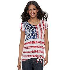 Women's Rock & Republic® Tie-Front Flag Graphic Tee