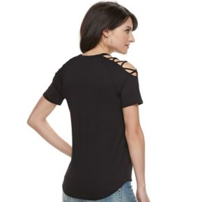 "Women's Rock & Republic® ""Born to Be Free"" Cold-Shoulder Tee"