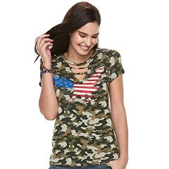 Women's Rock & Republic® Camo Flag Tee
