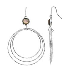 olive & ivy Silver Plated Abalone Graduated Hoop Drop Earrings