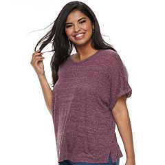 Juniors' Plus Mudd® Boxy Roll-Cuff Tee