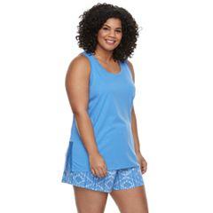 Plus Size SONOMA Goods for Life™ Printed Tank & Shorts Pajama Set