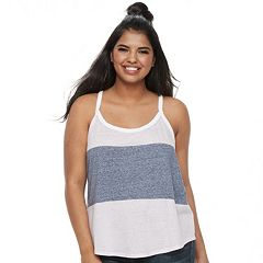 Juniors' Plus SO® Varsity Striped Racerback Tank
